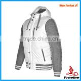 Winter sweat black and white varsity jacket with knitted sleeves