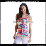 Latest Sleeveless Printed Tank Top Designs Floral Printed Tank Top For Girls