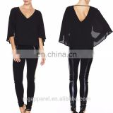 elegant chiffon ladies blouse black beaded V neck woman batwing sleeves blouse