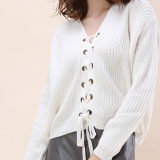 Ladies Knitted Lace up Sweater Pullover