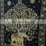 Indian Screen Printed Tapestry Bedspreads Elephant Printed Wall Hangings