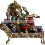 "Indian Hindu GOD Ganesha Relax On Bed Stone Work 13"" Brass Silver Hue Statue Hindu Art 12.2KG ELEPHANT Lord Ganesha statue decor"