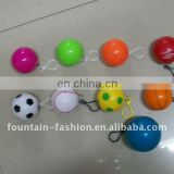 Pe disposable poncho in colorful ball/case with key chain
