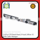 CAT5e 24 Port Pro RJ45 Dual Network Mini Patch Panel w/Surface Wall Mount Bracket