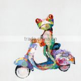 2015 Most Popular Selling Professional Artists Team Handmade A Frog is Riding on a motorbike Abstract frog oil painting wall art