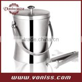 ice bucket, for ice cubes and crushed ice, with ice tongs, Stainless steel, Polished, 1.2 Liter and 2 Liter
