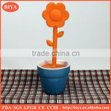 ceramic stoneware tea bag cup holder with silicone flower tea bag