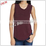 New Arrival t shirt wholesale woman 100% cotton blank sleeveless tank top with logo printing
