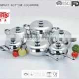 Apple Shape 18/8 Stainless Steel Dutch Oven with bakelite handle, Induction Bottom suitable for all hobs