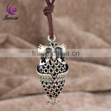 Jenia Baby Jewelry Likable Owl Zinc Alloy Pendant Adjustable Leather Necklace For Gril