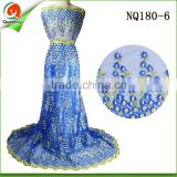 royal blue beaded nigeria tulle net lace fabric FOR prom dresses NQ180-6