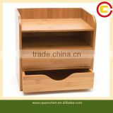 Great Bamboo 4-Tier Desk File Organizer for Kitchen Home and Office