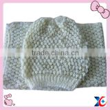 2013 fashion feather yarn knit hat and scarf