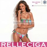 RELLECIGA Digital Floral Print Longline Bandeau Top & Adjustable Bottom Bikini Swimwear with Spliced Detail at Top