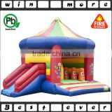 hot sale custom inflatable air trampline bed with slide for kids play, inflatable tiny house for sale