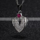 fashion silver jewelry heart shape silver pendant necklace cz setting platinum plated pendant necklace