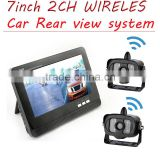 "2 channel 7"" inch wireless TFT LCD car Monitor +2.4G wireless night vision color CMOS truck dual Bus/car rear view camera"