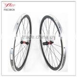 Far Sports carbon alloy clincher wheelset 38mm x 20.5mm road bike wheels alloy brake surface with DT 240S hub 36 ratchets
