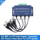 4 channel video balun transceiver for cctv BNC to UTP RJ45 coax adapter transceiver transmission distance 330M
