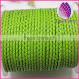 wholesle green 3.0mm braided real leather cord for jewerly