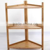 Triangle bamboo corner storage shelf