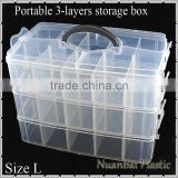 3-Tie Clear Portable Plastic Adjustable DIY Tool Organizer Bin Storage Box Fishing Tackle box