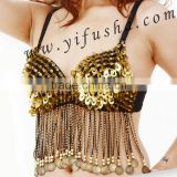 Top quality ladies sexy sequins belly dance bra with beaded tassels A0049