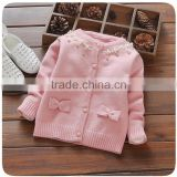 Sweet Baby Girls Cotton Sweaters Design With Beads and Bowknots For Children Knitted Cardigan