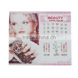 "Acrylic Temporary Tattoos Sticker Body Art Multicolor Glitter 15.8cm(6 2/8"") x 8.5cm(3 3/8""), 1 Packet(12 Sheets/Packet)"