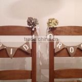 wedding decoration chair Bride & Groom Hessian Mini Chair Bunting Rustic Vintage Wedding Banner Burlap