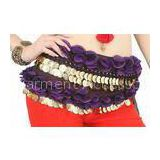 Contrast flower chiffon long hip belt belly dance hip scarf with coins OEM