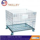 supermarket large volume collapsible wire mesh cargo container trolley on wheels for sale