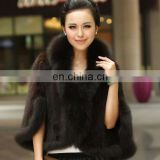 China factory wholesale knitted mink fur poncho with fox fur trim