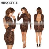 Wholesale 2016 sexy celebrity women backless leopard print bodycon bandage party dress