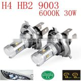 High Power White 6000K 30W H4 HB2 9003 LED DRL Daytime Running Head Light Bulb For Acura Lexus Honda Mazda Scion Toyota