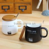 Zakka groceries Black and white contracted ceramic cup 1314 couples frosted mug cup film