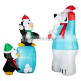 happy outdoor Inflatable penguin and Polar Bear Christmas Decoration