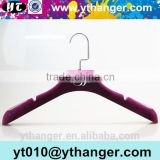 YY0493 custom hanger factory bridal dress hanger wedding dress purple notched velvet hanger                                                                                                         Supplier's Choice