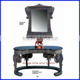 Hand Carved Hotel Antique Console Table with Mirror S-3350