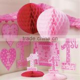 Pink Tissue Paper Honeycomb Balls Hanging Flower Balls for Party Wedding Decorations Baby Shower