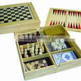 5 in 1 wood game set printing chess game set chess box chess board