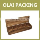 hot sale luxury 6 compartment wooden tea bags box