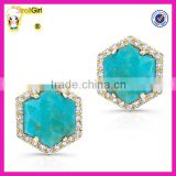 silver jewelry 925 sterling silver turquoise stud earring with gold plated white cz pave