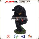 "13.4"" garden black bear statue holding solar light torch, garden wild animal statue"