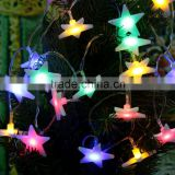 210cm Five-Pointed Flat Star Led Light Lamp AA Battery Christmas String Light Wedding Garden Decoration 20 LEDs Fairy String
