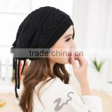 Rope Ski Hat,Knit Beanie Women Hats, Warmer Black Hats,Chunky Hat, Winter Hat