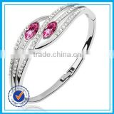 Jewelry factory direct red crystal silver bangle stand designs