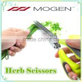 Vegetable Scissors with Anti-Slip Silicone Coated On The Handle Multi-Blade Herb Scissors