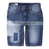 2016 summer vogue men patch 100% cotton denim jeans shorts for men skinny half pants