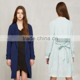 Women's Wide Lapel Wrap Coat Light Blue Autumn Jacket Thin Trench Coat With Belt Spring Fashion